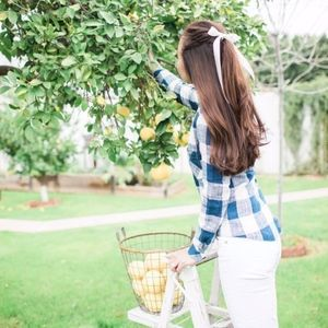 Anthro Cloth & Stone Gingham Button Back Top